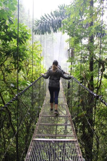 Walking along the hanging bridges in Mistico Park in La Fortuna Costa Rica