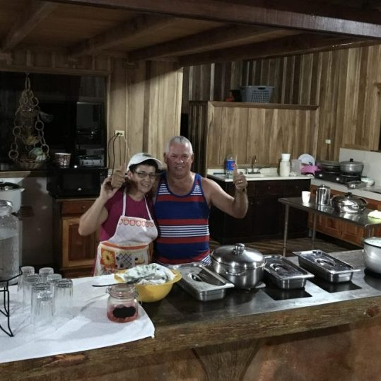 Eating traditional Costa Rican food in La Fortuna