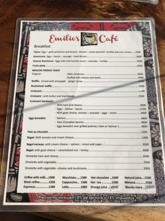 Emilio's Cafe menu Manuel Antonio Costa Rica