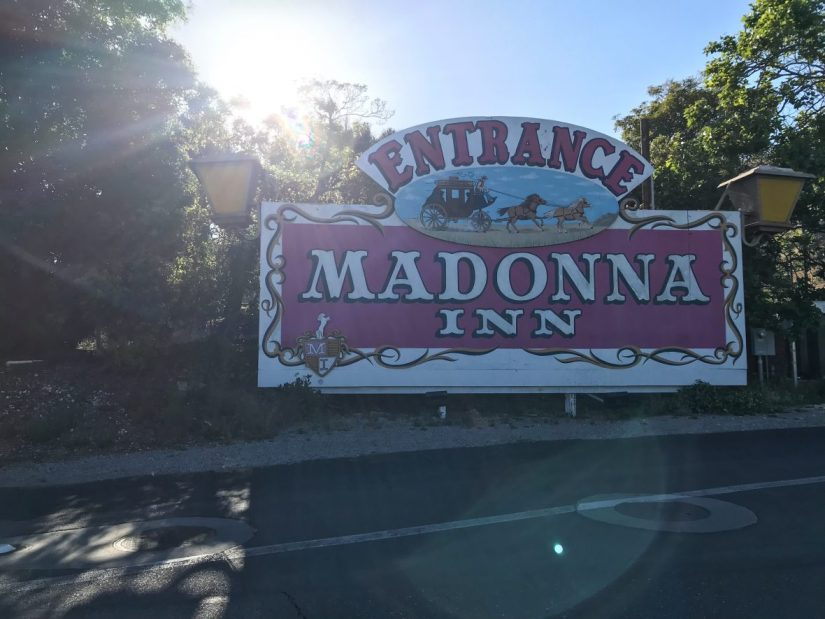 The sign for The Madonna Inn in California