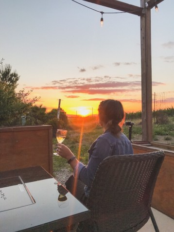 Sunset view while drinking wine outside of our tiny home in Paso Robles California