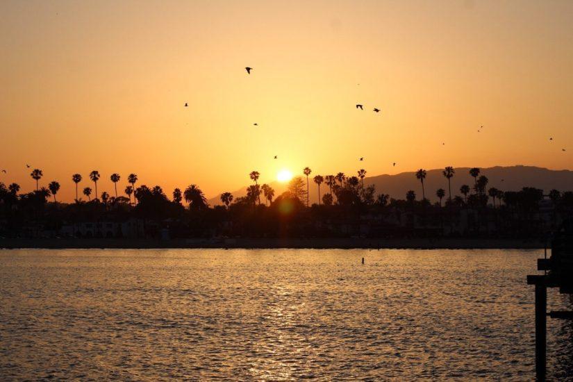 Sunset on the wharf in Santa Barbara California