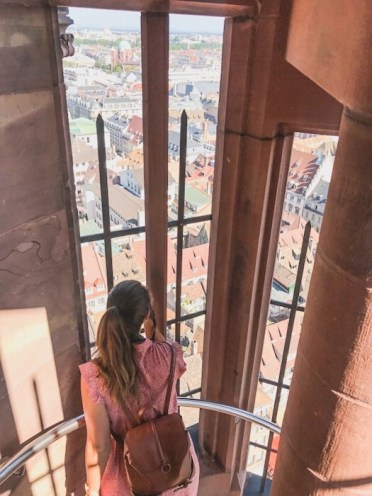 Taking a photo while walking up the Cathedral in Strasbourg, France