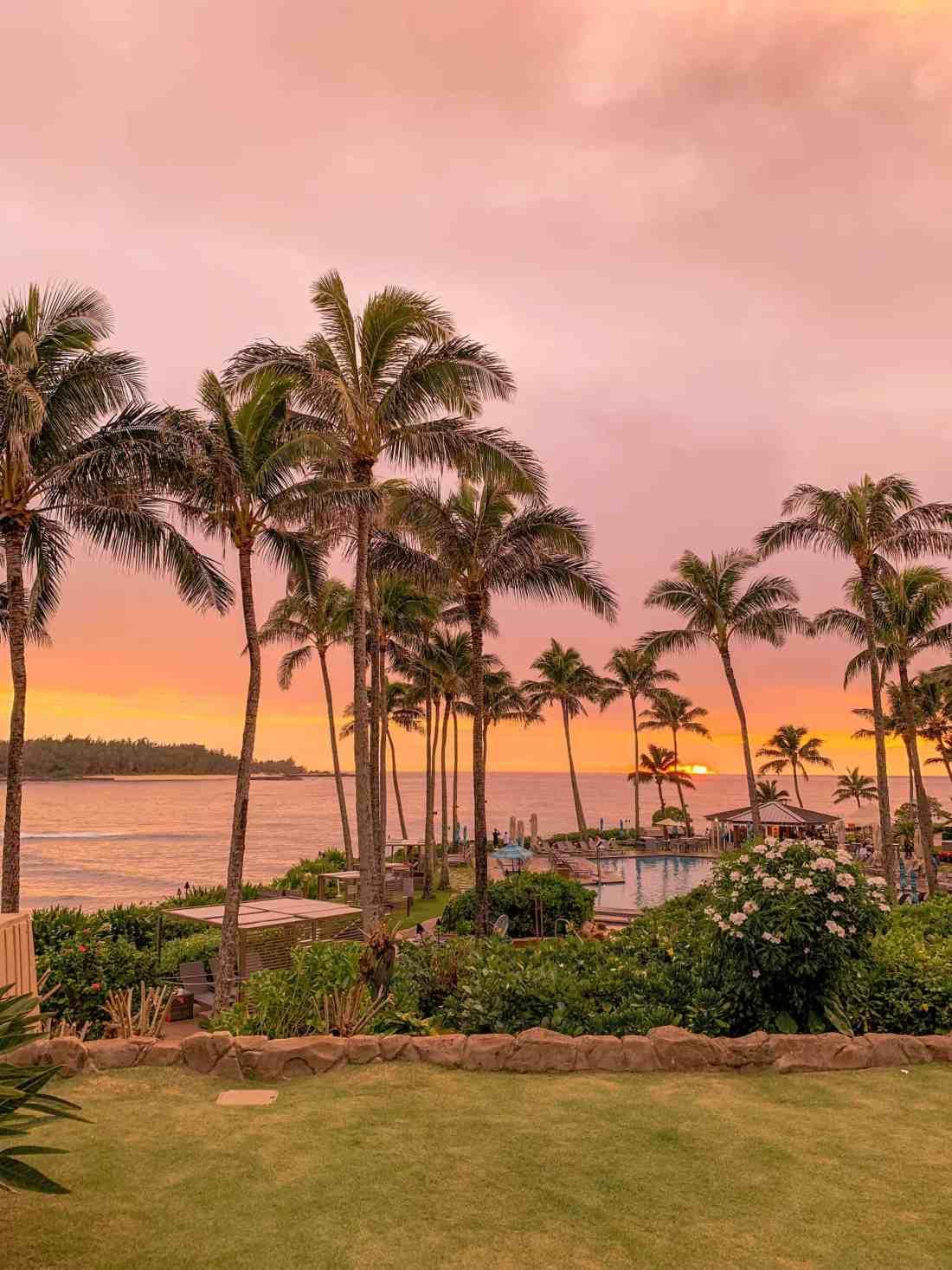sunset at turtle bay resort in oahu hawaii