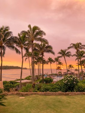 sunset at turtle bay resort in oahu hawaii