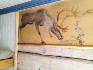 Väggmålning i Tjåkkelestugan