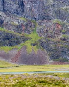 Bergvägg och ras, på andra sidan Tjäktjajåkka