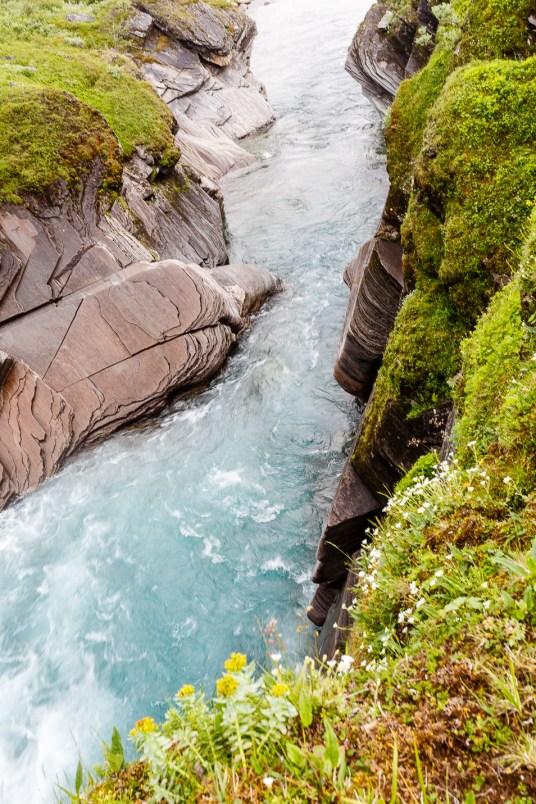 Ovanför vattenfallet Sieberjåhkå