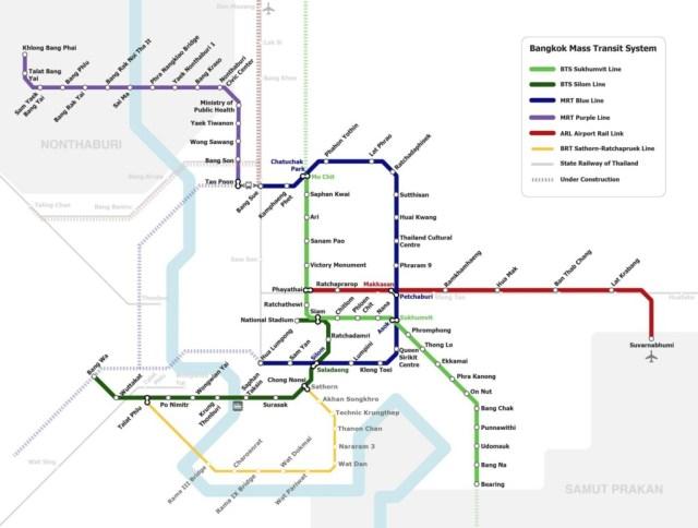 Bangkok UBahn Streckennetz
