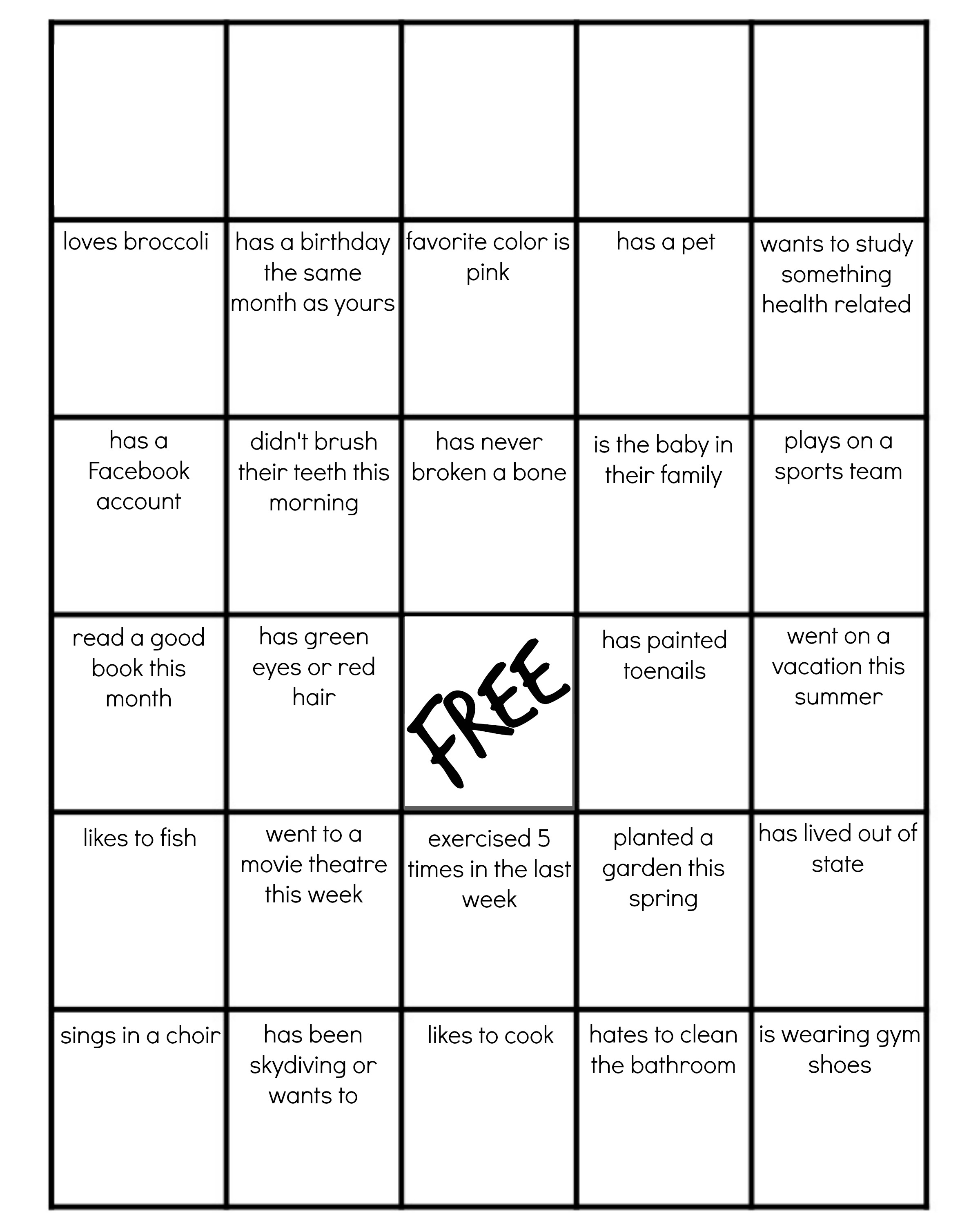Family Reunion Get To Know You Bingo