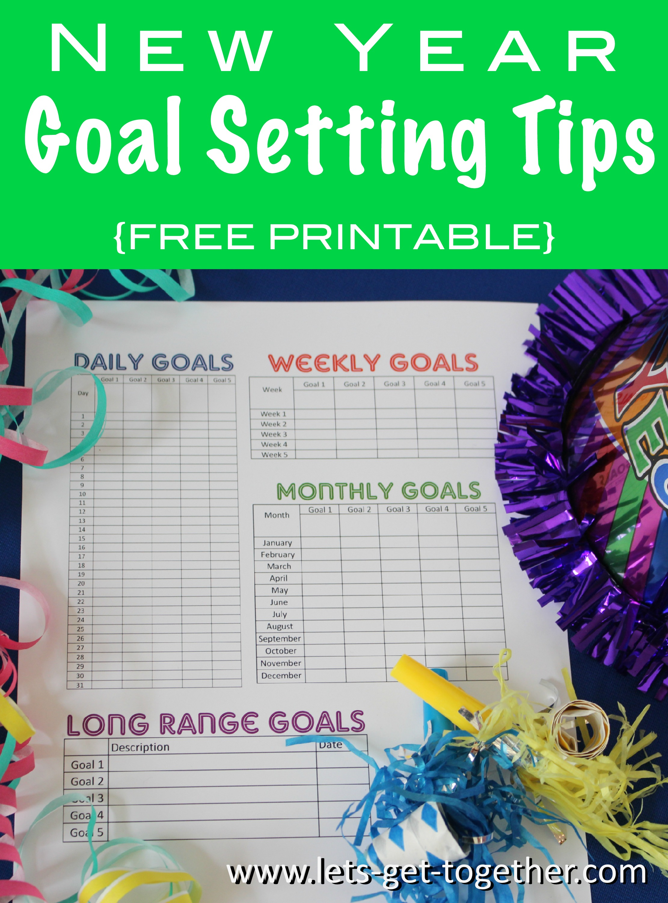 New Year Goal Setting Tips Free Printable