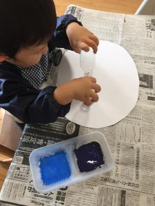 おうちモンテ 2歳児 スタンプ押し 絵の具遊び 知育