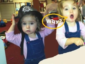 Toddler twins asking why