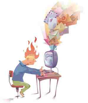 Image of man overheating at emails