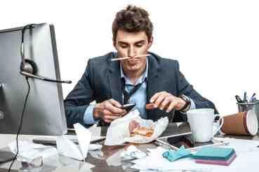 Lazy man at desk