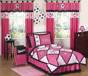 football curtains and bedding sets on