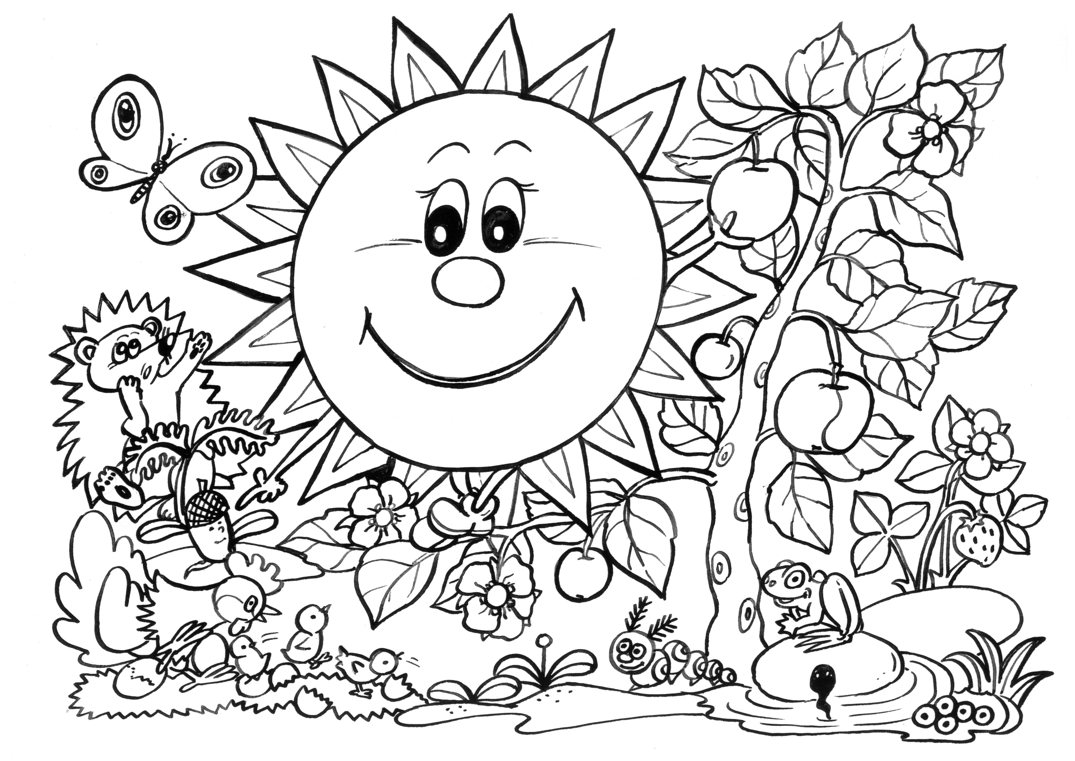 Spring Coloring Pages Sunny Garden Free Printable Coloring Pages For Kids Colouring Pages