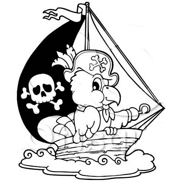 parrot pirate ship coloring pages for kids print coloring pages