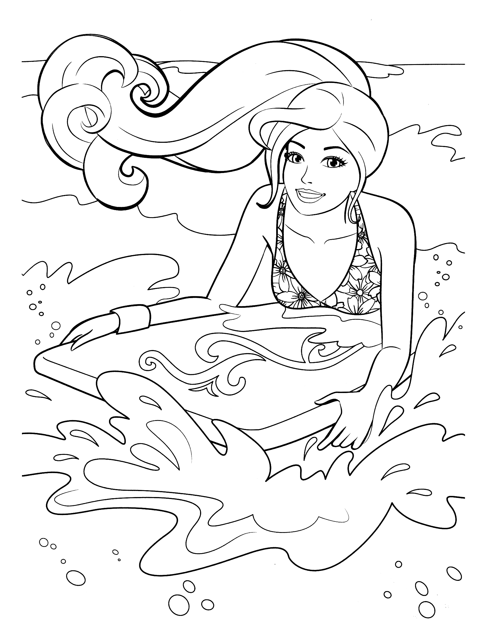 Barbie Surf On Beach Coloring Pages