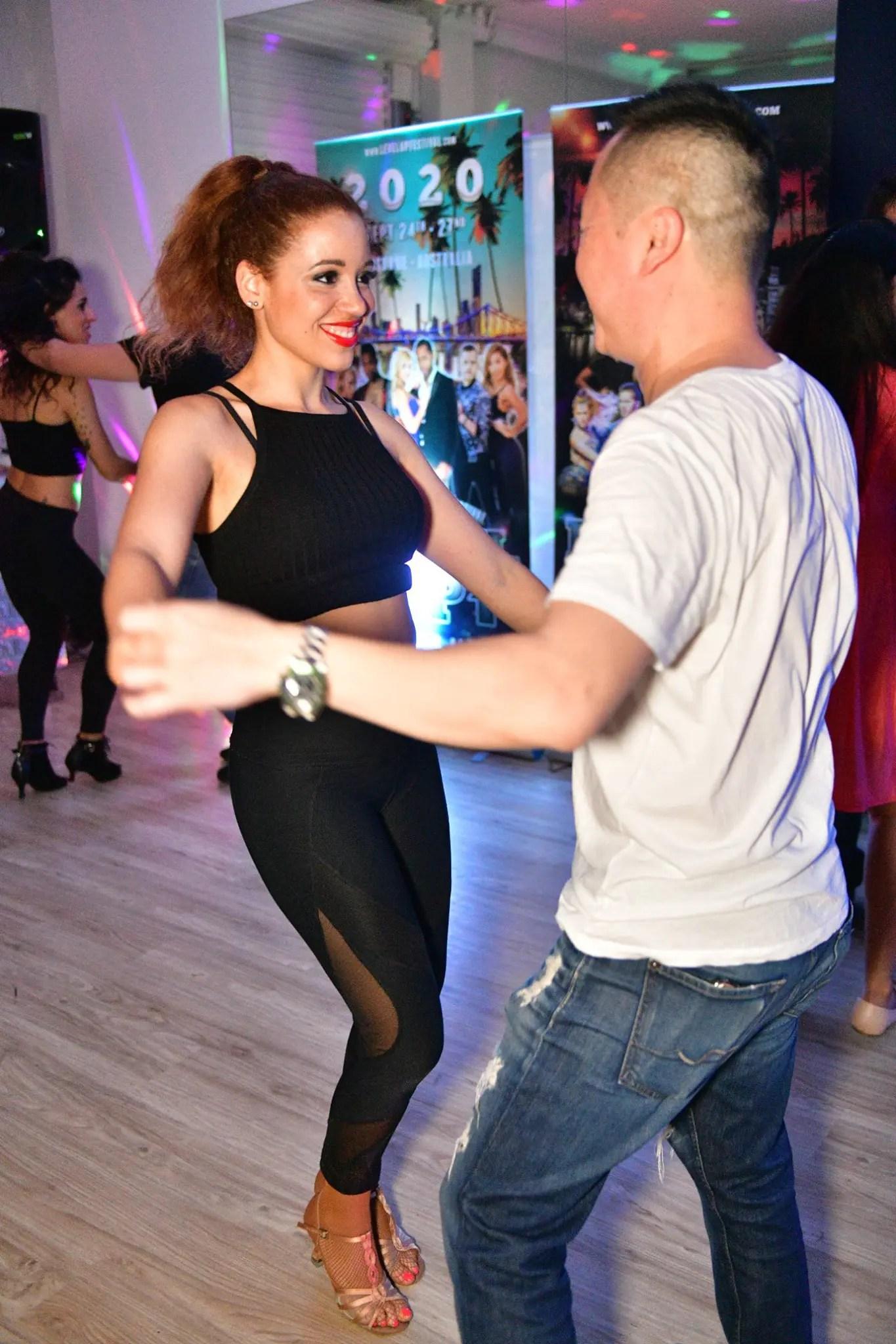 Aurelie Chapelain dancing in social - Let's Dance Bachata