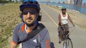 Biking along the Windsor waterfront trail
