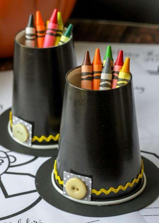 kids thanksgiving party ideas pilgrim hat crayon holder