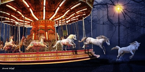 horses jumping off carousel painting