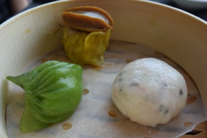 Three premium dim sum- truffle and eggwhite, lobster and hokkaido scallop flavored with homemade XO sauce, abalone topped siu mai with Iwate pork.