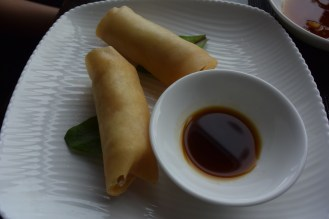 Spring rolls with three kinds of seafood.
