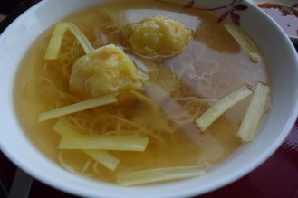 My noodle soup with shrimp wontons