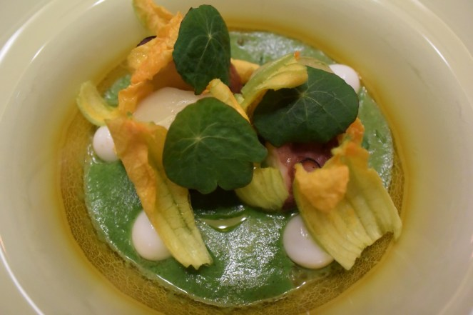 Viva Mexico Cabrones!!! Green mole with fennel and green tomato, olluco, steamed octopus, and bone marrow.