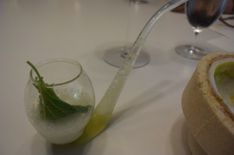 The bird was served with this shiso mojito.