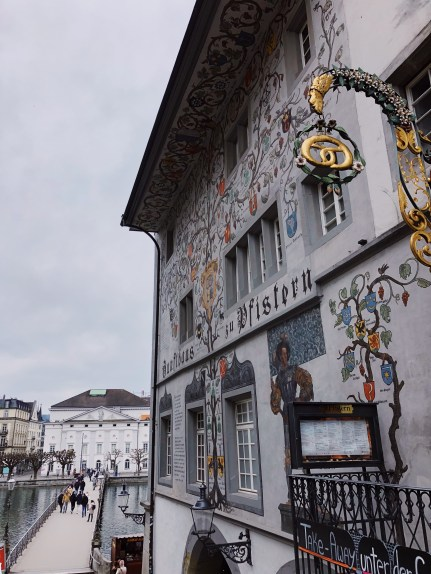 Frescos on the buildings in Lucerne. Guildhall zu Pfistern