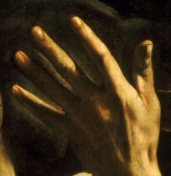 "detail from Caravaggio's ""Conversion of Saint Paul on the Way to Damascus"""