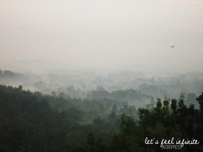 On peut voir Borobudur sur cette photo. Vous avez trouvé où?