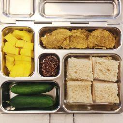 turkey & cheese mini sandwiches, chips, mango, mini cucumbers, chocolate cookie bites