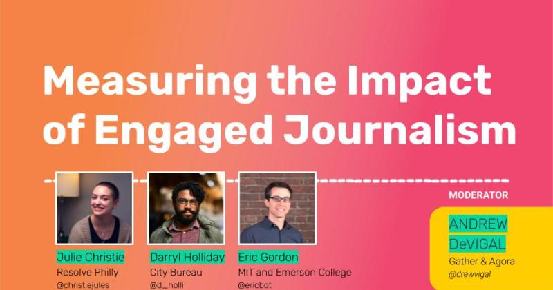 """Session title: """"Measuring the Impact of Engaged Journalism."""" Panelists: Darryl Holliday, Julie Christie, Eric Gordon"""