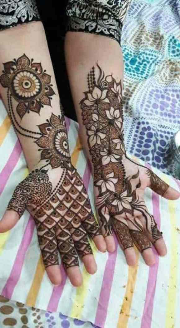 Round floral motifs and fine shades design for hands