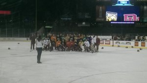 About 2/3 into their allotted ice time, the Pios took a break for a team picture.