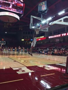 Ade Murkey jumps out of the gym during the slam dunk contest.