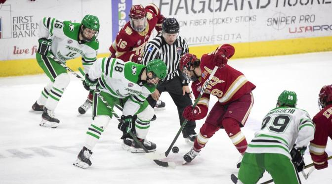 Shorthanded Pioneers Drop Overtime Heartbreaker to North Dakota in Frozen Faceoff Semifinal