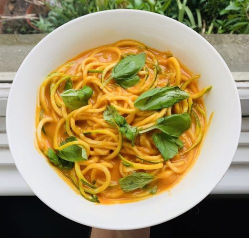 Pasta with Roasted Capsicum & Carrot Sauce