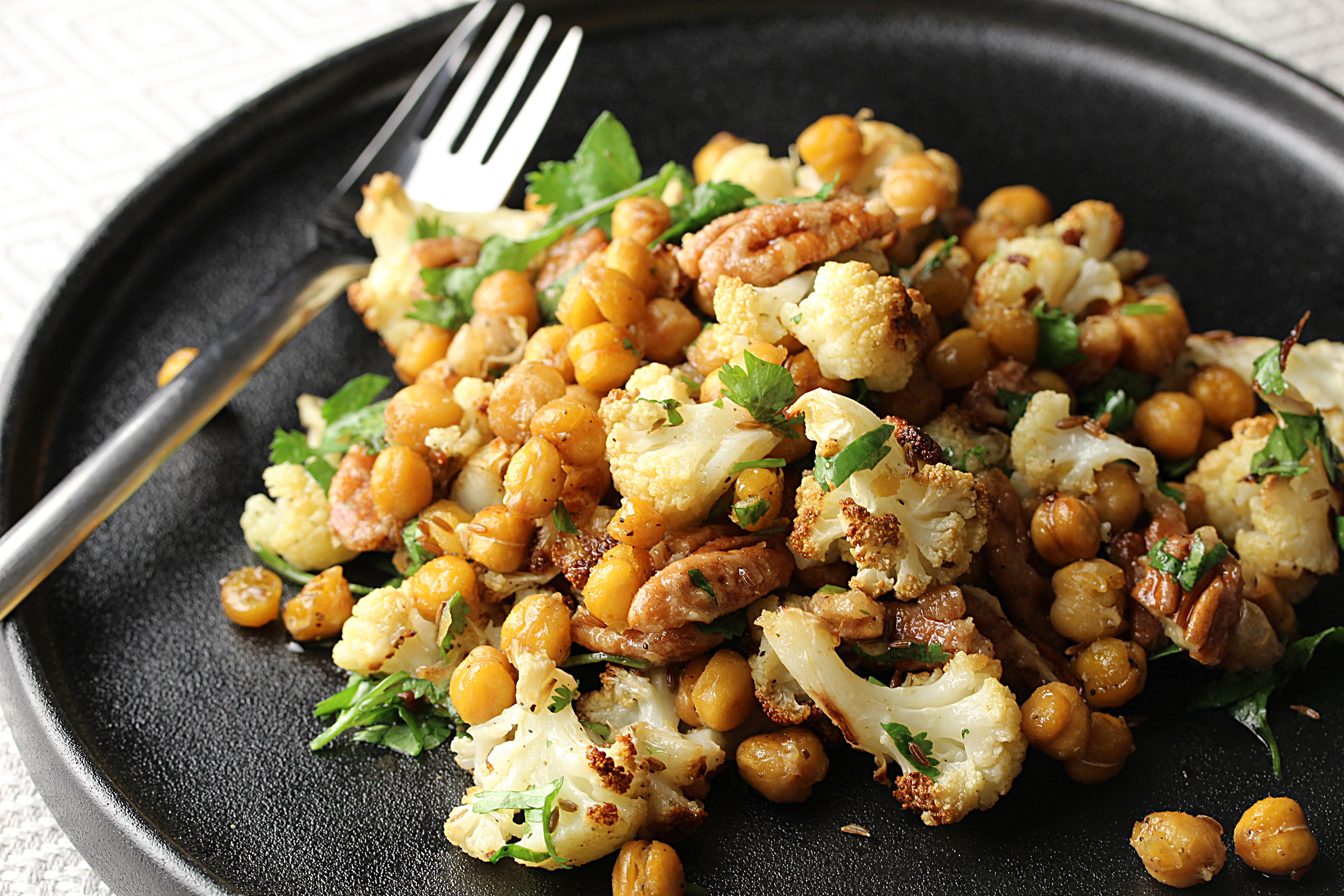 Roasted Chickpea Cauliflower Salad with Candied Pecans
