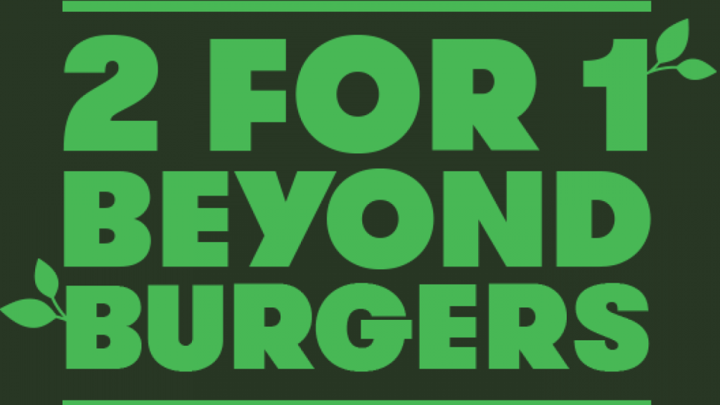 Grilld flyer for two for one Beyond Meat Burgers