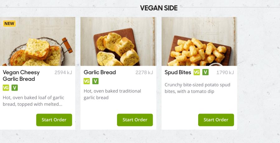 Vegan side dishes on offer.