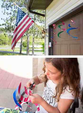 Paper Plate Craft: This super-simple American Flag Wind Spinner is the perfect patriotic craft for children of all ages. *So easy. Saving this idea for the kids this summer!