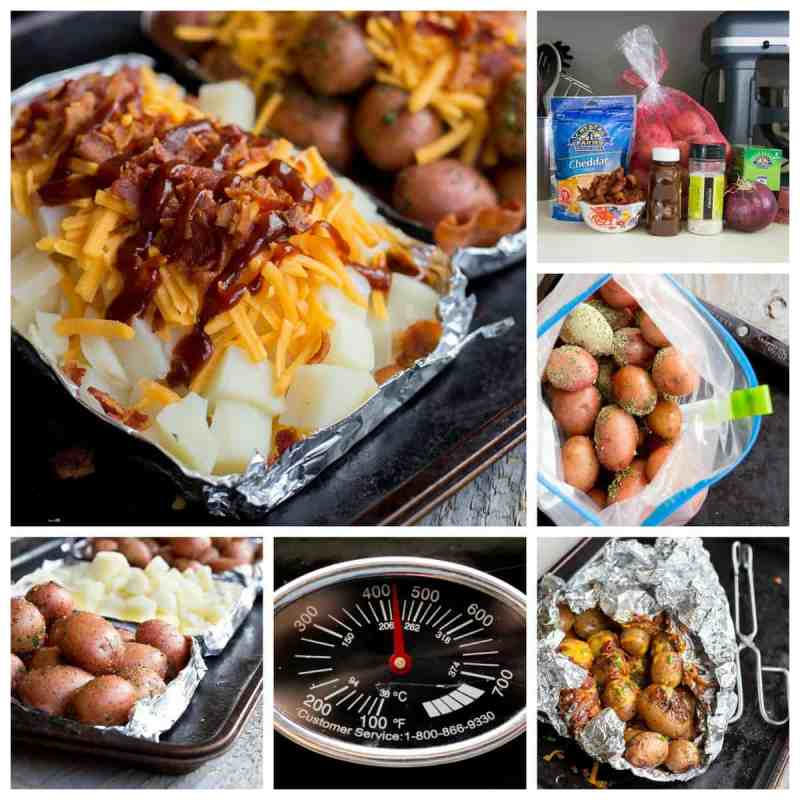 Cheddar Bacon Potato Bundles: Chopped red potatoes topped with pepper, spicy BBQ sauce, a mound of shredded cheese and bacon.. You have to make these crazy-easy grilled potato bundles this summer. These foil wrapped potato packets are super simple and delicious. Perfect for camping or just a quick family dinner. *Saving this for later!