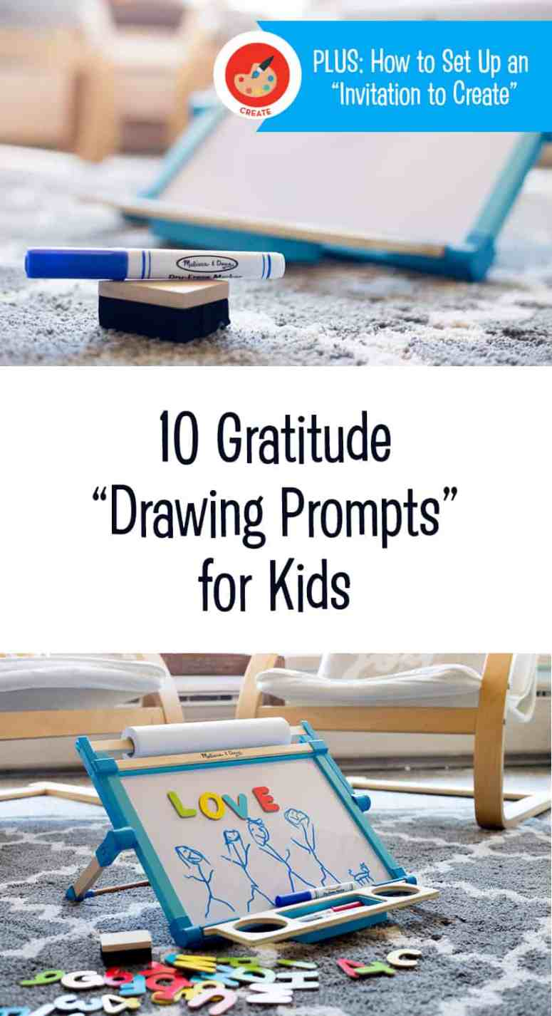 10 Gratitude Drawing Prompts for Children + How To Set-up An Invitation to Create for Kids *Great Thanksgiving activity. Love this list of ideas!