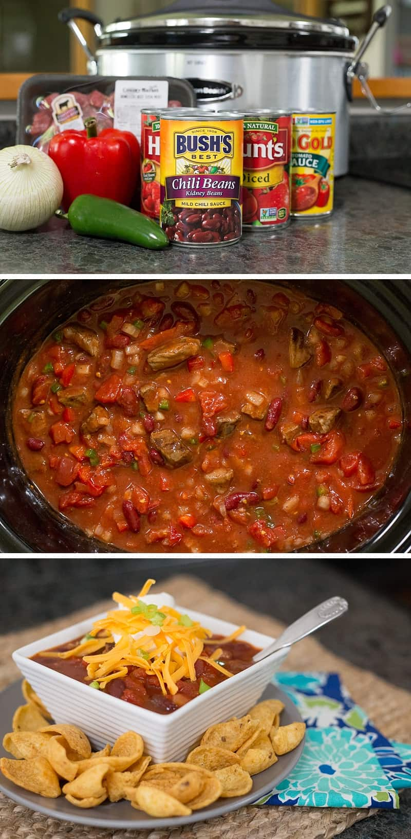 Best chili EVER! This slow cooker recipe is so SIMPLE to make. You can use ground beef, steak or go vegetarian. It is perfect for a quiet evening at home or for hosting a family party. Plus you can freeze leftovers for an easy weeknight dinner on a school night. *This is one of my go-to dinners that the whole family loves. Perfect comfort food.