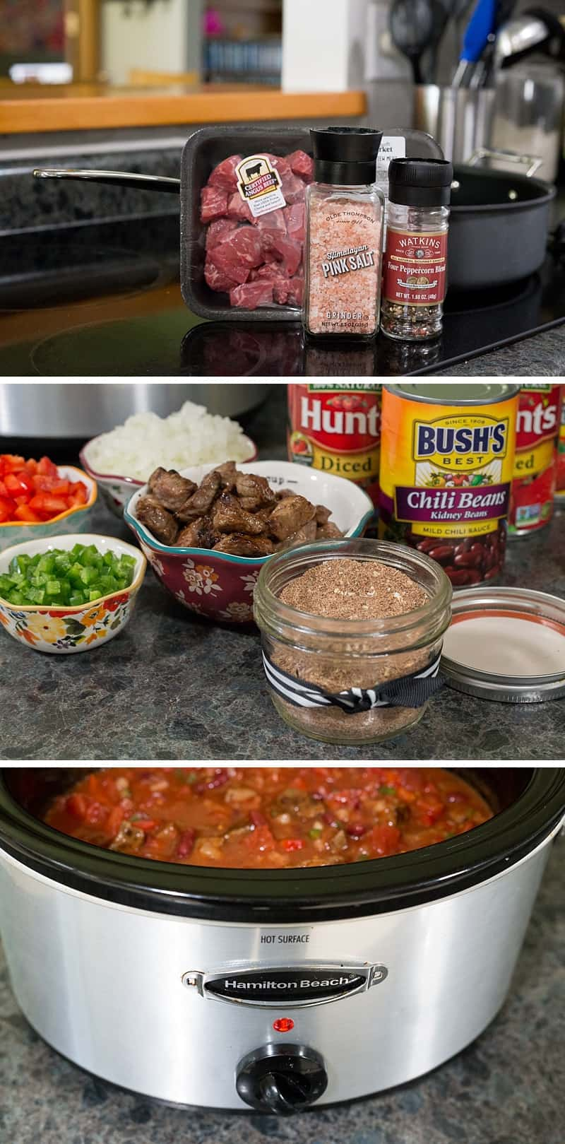 Best steak chili EVER! This slow cooker recipe is so SIMPLE to make. It is perfect for a quiet evening at home or for hosting a family party. Plus you can freeze leftovers for an easy weeknight dinner on a school night. *This is one of my go-to dinners that the whole family loves. Perfect comfort food.